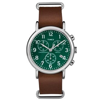 Timex Ladies' Weekender Brown Leather Strap Watch - Product number 8193274