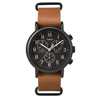 Timex Ladies' Weekender Brown Leather Strap Watch - Product number 8193282