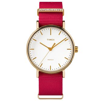 Timex Ladies' Fairfield Mid Size Pink Nylon Strap Watch - Product number 8193401