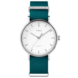 Timex Ladies' Fairfield Mid Size Green Nylon Strap Watch - Product number 8193460