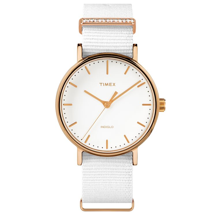 Timex Ladies' Fairfield Mid Size White Nylon Strap Watch - Product number 8193665