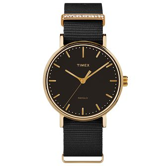 Timex Ladies' Fairfield Mid Size Black Nylon Strap Watch - Product number 8193681