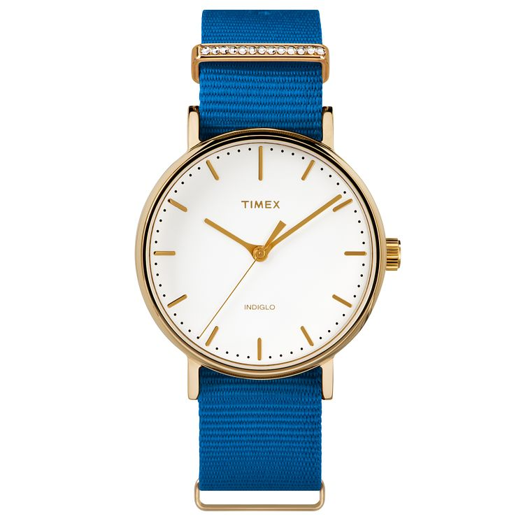 Timex Ladies' Fairfield Mid Size Blue Nylon Strap Watch - Product number 8193703