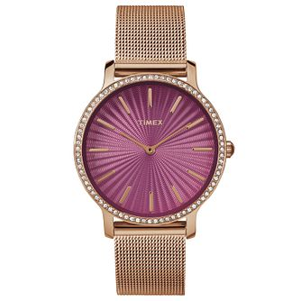 Timex Ladies' Slim Starlight Rose Tone Mesh Bracelet Watch - Product number 8193746