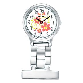 Lorus Stainless Steel Flower Design Dial Fob Watch - Product number 8193843