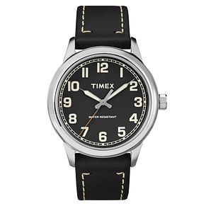 Timex Men's Heritage Black Leather Strap Watch - Product number 8194491