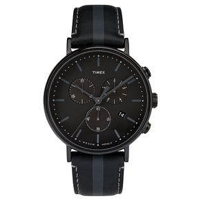 Timex Men's Fairfield Chronograph Black Leather Strap Watch - Product number 8194904