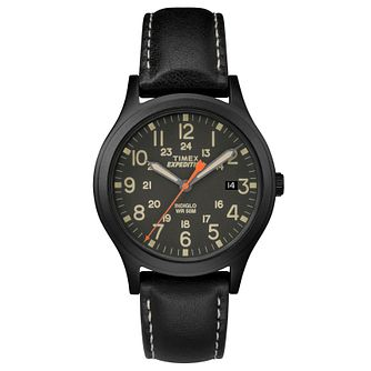 Timex Men's Expedition Scout Black Leather Strap Watch - Product number 8195218