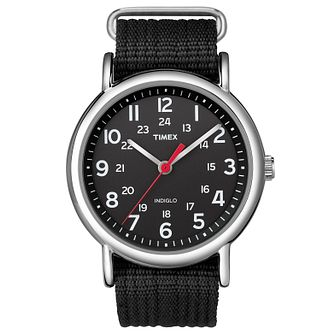 Timex Men's Weekender Black Nylon Strap Watch - Product number 8195226