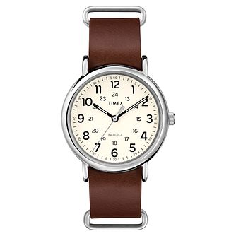 Timex Men's Weekender Brown Leather Strap Watch - Product number 8195269