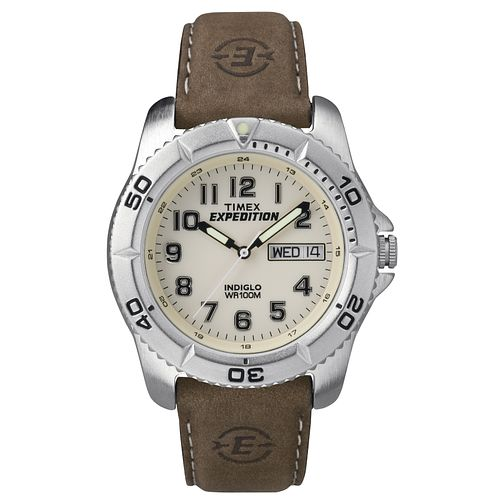Timex Men's Expedition Brown Leather Strap Watch - Product number 8195285
