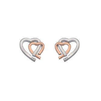Hot Diamonds Silver & Rose Gold Double Heart Earrings - Product number 8195366