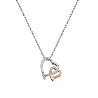 Hot Diamonds Silver & Rose Gold Double Heart Pendant - Product number 8195374