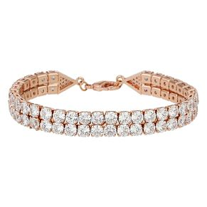 Mikey Rose Gold Tone Cubic Zirconia Double Row Bracelet - Product number 8195722