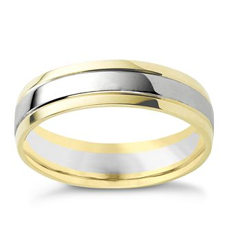 9ct two-colour gold wedding ring - Product number 8197938