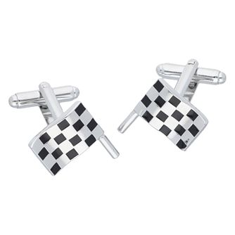 Men's White & Black Enamel Racing Flag Cufflinks - Product number 8200246