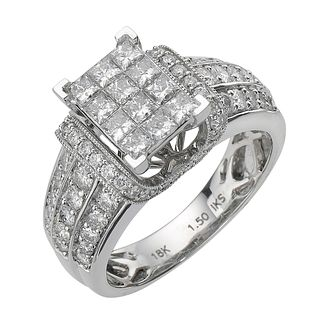 18ct white gold 1.50ct diamond princess cut ring - Product number 8203385