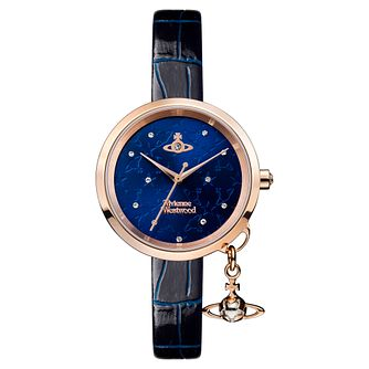 Vivienne Westwood Bow II Ladies' Navy Blue Strap Watch - Product number 8215898
