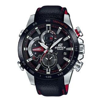 Casio Edifice Men's Black Leather Strap Bluetooth Watch - Product number 8216371