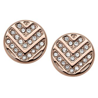 Fossil Chevron Ladies' Rose Gold Tone Earrings - Product number 8217335