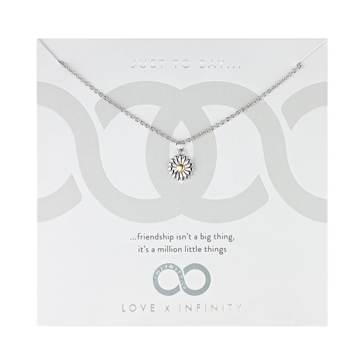 Love x Infinity Silver & Yellow Gold Daisy Pendant - Product number 8220026