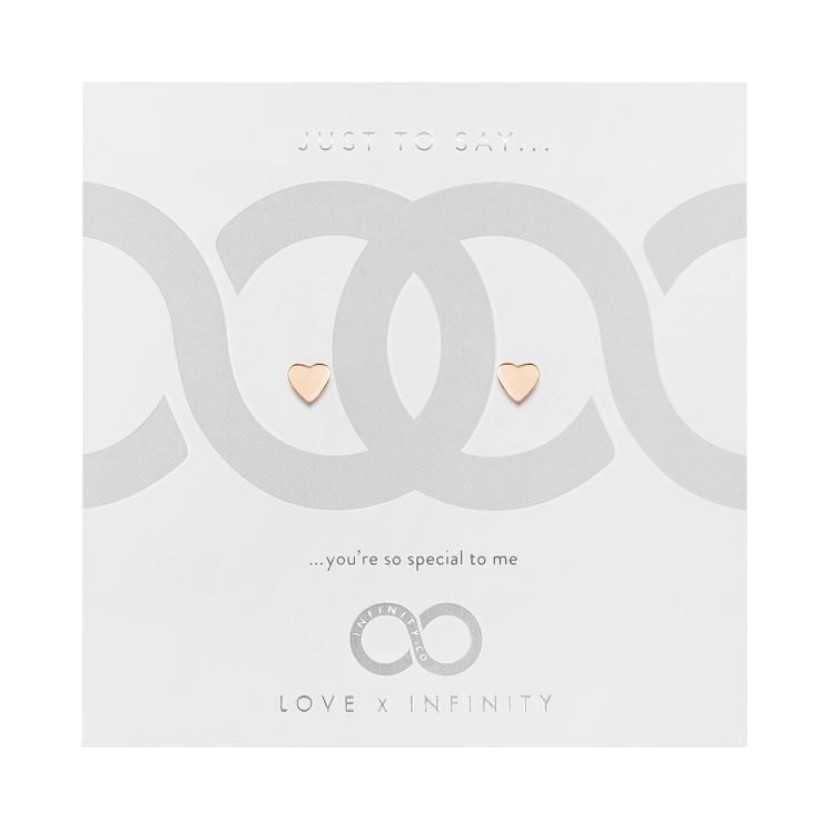 Love x Infinity Rose Gold Tone Heart Stud Earrings - Product number 8220174