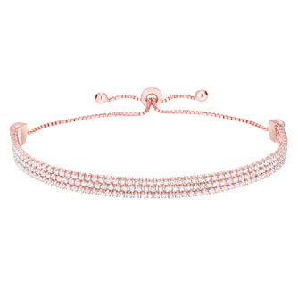 Rose Gold Plated Silver Cubic Zirconia Triple Bolo Bracelet - Product number 8221375