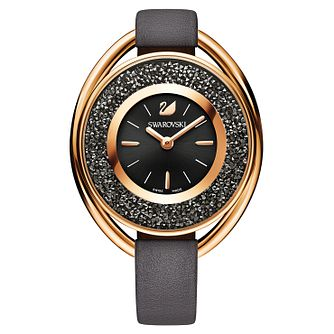 Swarovski Crystalline Ladies' Oval Black Leather Strap Watch - Product number 8229074