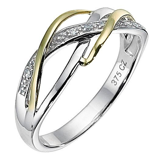 9ct Yellow Gold and Silver Cubic Zirconia Weave Ring
