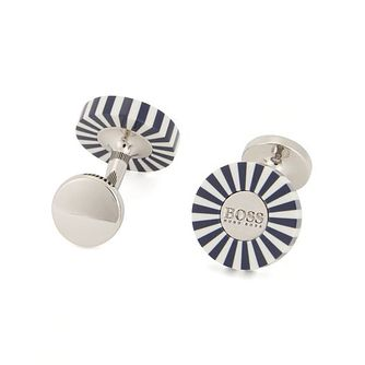 Hugo Boss Men's Stainless Steel Navy Blue Cufflinks - Product number 8231370