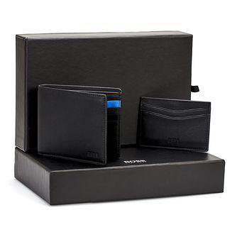 Hugo Boss Men's Black Leather Wallet and Cardholder Gift Set - Product number 8231907