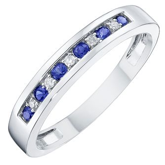 18ct White Gold Blue Sapphire Solitaire Ring - Product number 8232385