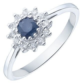 18ct White Gold Sapphire Solitaire Ring - Product number 8232563