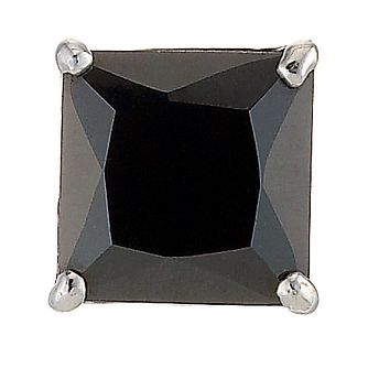 9ct White Gold Men's Square Black Cubic Zirconia Earring 6mm - Product number 8232628