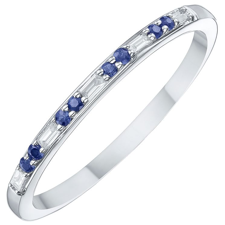 9ct White Gold Blue Sapphire & Diamond Ring - Product number 8233128