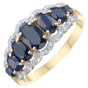 9ct Yellow Gold Dark Blue Sapphire & 1/10ct Diamond Ring - Product number 8235317