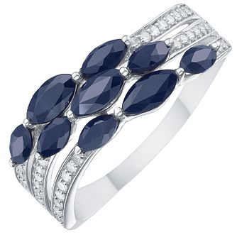 9ct White Gold Dark Blue Sapphire & 1/10ct Diamond Ring - Product number 8236186