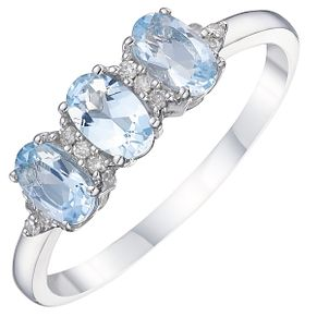 9ct White Gold Aqua & Diamond Ring - Product number 8236321