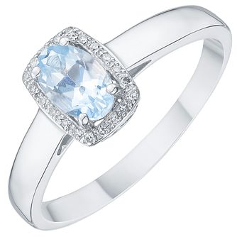 18ct White Gold Aqua & Diamond Solitaire Ring - Product number 8237549