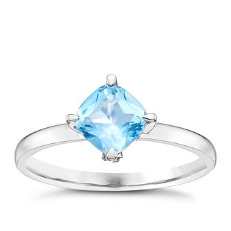 Sterling Silver Swiss Blue Topaz & Diamond Solitaire Ring - Product number 8238057
