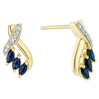9ct Yellow Gold Blue Sapphire & Diamond Earrings - Product number 8239142