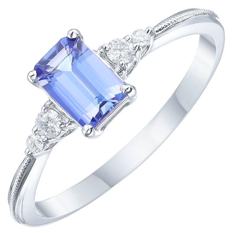 18ct White Gold Tanzanite & Diamond Solitaire Ring