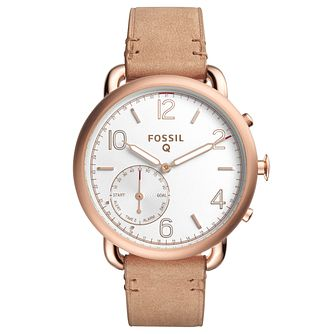 Fossil Q Ladies' Brown Leather Strap Hybrid Smartwatch - Product number 8344140