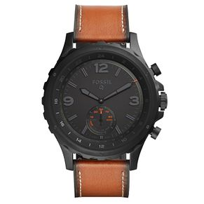 Fossil Q Men's Brown Leather Strap Hybrid Smartwatch - Product number 8344175