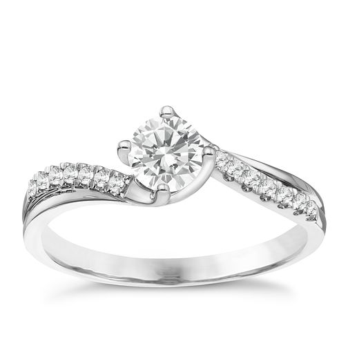 18ct White Gold 0.50ct Solitaire Twist Diamond Ring - Product number 8348871