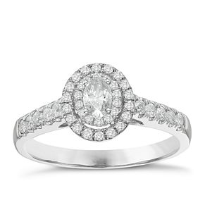 9ct White Gold 1/2ct Oval Halo Diamond Ring - Product number 8349452