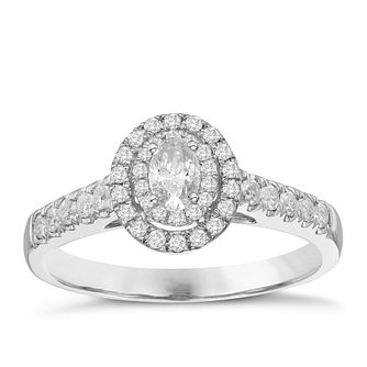 9ct White Gold 0.50ct Oval Halo Diamond Ring - Product number 8349452