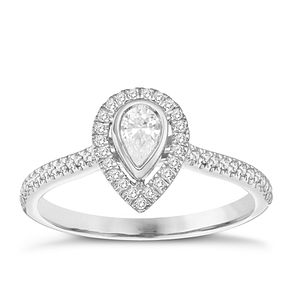 9ct White Gold 1/3ct Pear Halo Diamond Ring - Product number 8350116