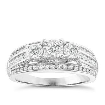 9ct White Gold 1/2ct 3 Stone Diamond Bridal Ring - Product number 8350620