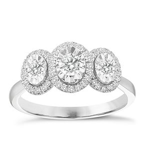 9ct White Gold 1/2ct Oval 3 Stone Illusion Set Diamond Ring - Product number 8350779